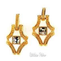 Swarovski Crystal Vintage Earrings Door Knocker Style Swan Logo  - $44.00