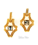 Swarovski Crystal Vintage Earrings Door Knocker Style Swan Logo  - $44.00