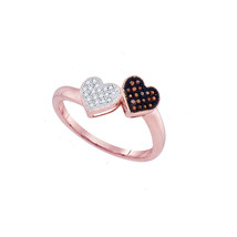 10k Rose Gold Round Red Color Enhanced Diamond Heart Love Fashion Ring 1... - $179.00