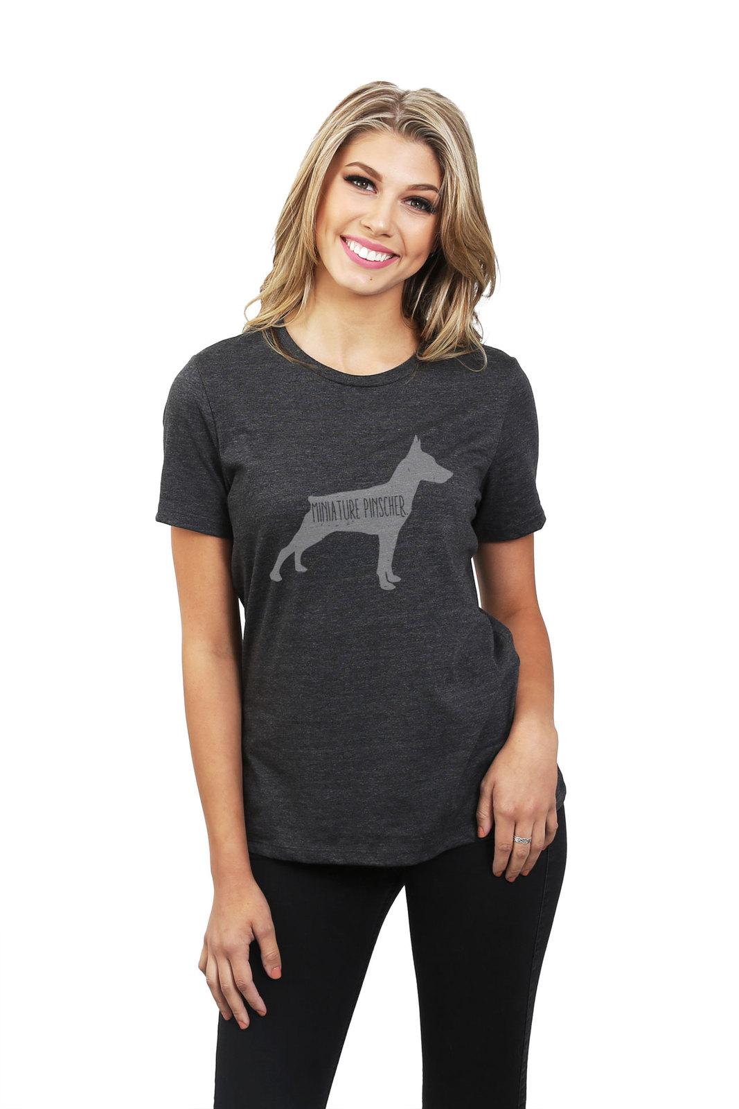Thread Tank Miniature Pinscher Dog Silhouette Women's Relaxed T-Shirt Tee Charco