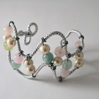 BRACELET ALUMINUM WITH AQUAMARINE NATURAL MULTICOLORED AND PEARLS