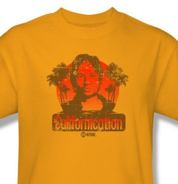 Californication T shirt TV show Free Shipping distressed cotton gold tee CBS759