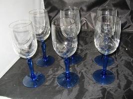(6 )Lenox Blue Stem Swag Draped Goblets glasses Gold Rim 8 oz. - $17.99