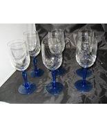 (6 )Lenox Blue Stem Swag Draped Goblets glasses Gold Rim 8 oz. - $18.99