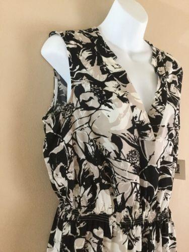 NEW Womens ANNE KLEIN Black White Floral   Wear to Work Sleeveless Dress 12 L