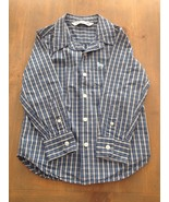 Old Navy Boys Button Front Long Sleeve Shirt Blue Plaid Size XS 5  - $6.99