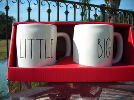 Rae Dunn Magenta Collection Coffee Tea Mugs Set Black Large Lettering BI... - $20.00