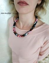 Black matt necklace with flowers Pink orange grey bead crocheted rope Ex... - $160.00