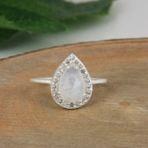 Natural Rainbow Moonstone 925 Sterling Fine Silver Engagement Rings Jewelry - $15.71