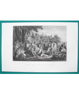 WILLIAM PENN Signing Treaty with Indians - 1856 Engraving Print - $8.96