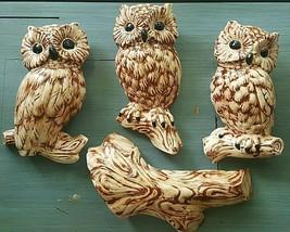 Vintage CERAMIC OWLS WALL HANGING SET 4 Figurines 1970s Signed Glazed St... - $35.00