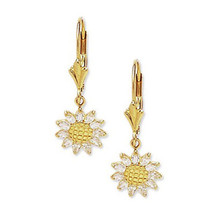 Women's Elegant 14K YG White Sapphire Sunflower Drop Leverback Earrings ... - $152.35