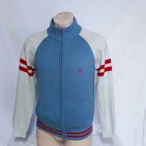 VTG Polo Ralph Lauren Zip Cardigan Sweater 90s Colorblock Sportsman Bear Large - $79.99
