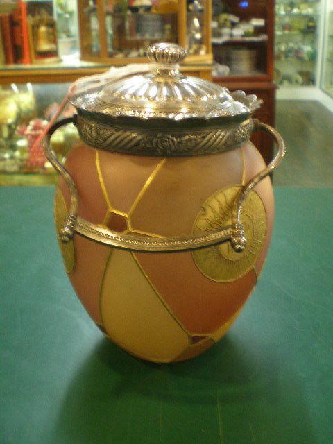 Mount Washington Royal Flemish Medallion Biscuit Cracker Jar