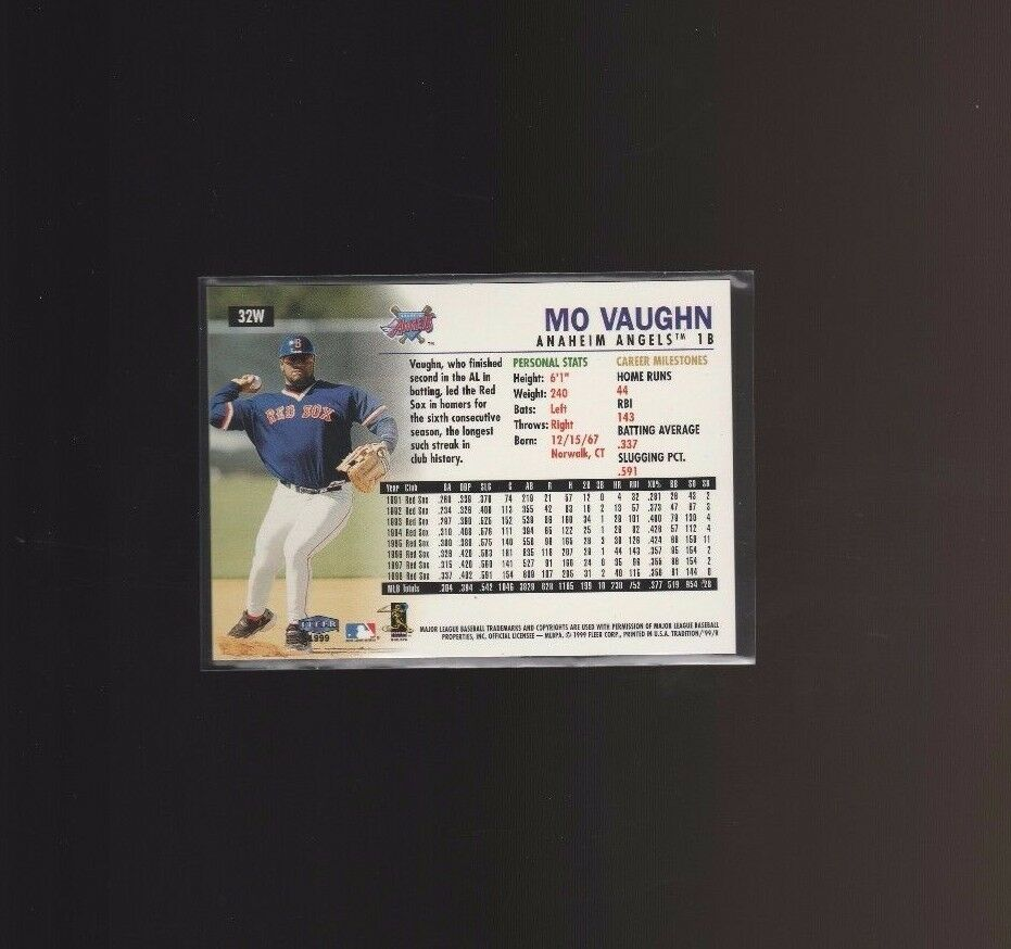 1999 Fleer Tradition Warning Track #32W Mo Vaughn Boston Red Sox