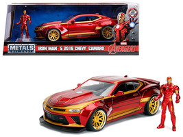 "2016 Chevrolet Camaro with Iron Man Diecast Figure \""Marvel\"" Series 1/24 Diecas - $40.90"