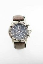 Fossil Chronograph Watch Mens Stainless Silver Steel Leather Maroon Blue... - $33.46