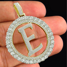"14k Yellow Gold FN 925 Silver Initial Letter ""E"" Pendant Round Cut White Diamond - $144.90"