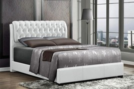 MYCO Furniture 2956K-WH Barnes White Faux Leather King Size Platform Bed