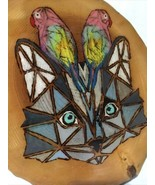 Blue Eyed Kitty Cat & 2 Colorful Parrots On Wood Unique Art Over 5 Pounds - $58.75