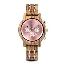 Womens Wooden Watch - Chronograph Rose Gold On Walnut - €85,90 EUR+