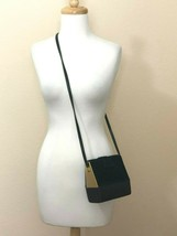 90s Crossbody Bag Women Small Chunky Black Suede Leather Gold  - $34.99