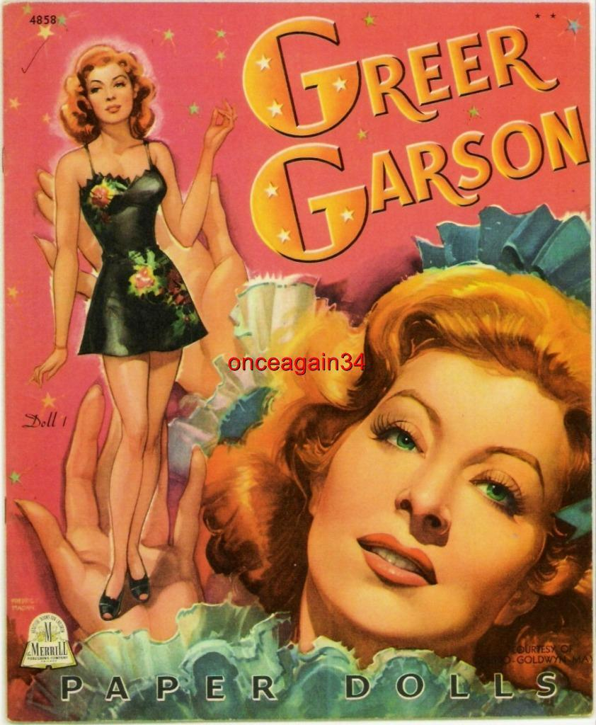 Primary image for VINTAGE UNCUT 1944 GREER GARSON PAPER DOLLS~#1 REPRODUCTION~BEAUTIFUL/GLAMOROUS