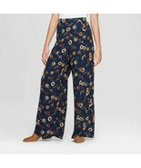 Xhilaration Womens XSmall Wide Leg Navy Blue Floral Palazzo Pants High Rise - $19.79