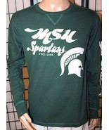 VINTAGE MICHIGAN ST. SPARTANS Medium Green Long Sleeve 100% Cotton Shirt... - $13.54