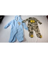 Carters Mad Game Baby Boys 3-6M One Piece Footed PJ Sleeper 2 Piece Lot - $10.88