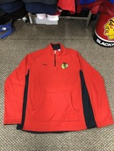 Chicago Blackhawks Red Reebok Quarter Zip Long Sleeve Fleece Sweatshirt Youth XL - $14.84