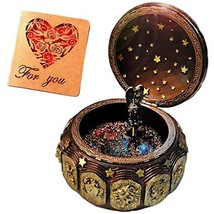 Vintage Music Box with 12 Constellations Rotating Goddess LED lights Twi... - $45.82