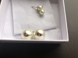 Auth Christian Dior Mise En Dior Tribales Double Pearl EARRINGS Classic Gold image 8