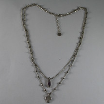 .925 RHODIUM SILVER DOUBLE WIRE NECKLACE WITH PURPLE CRISTAL AND CROSS image 2