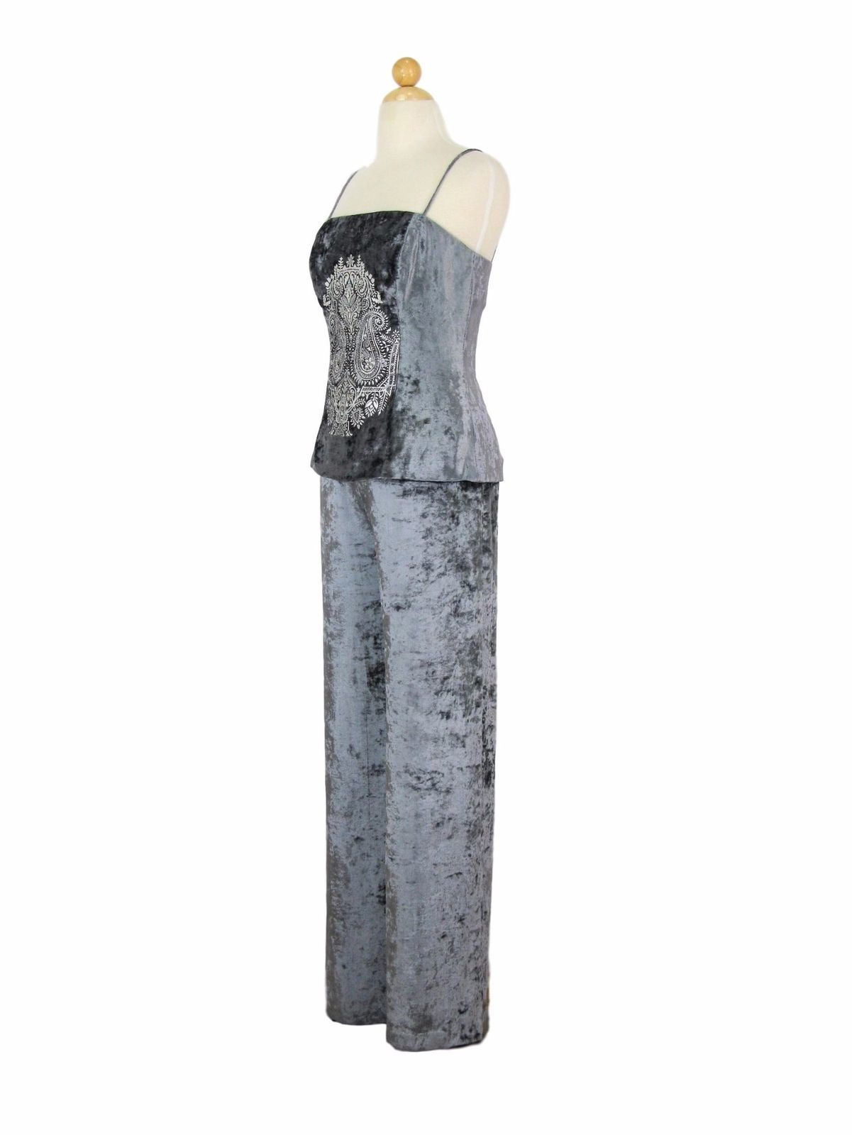 Palazzo Pants & Camisole Top Donna Morgan Crushed Silver Velvet 4 $198 MSRP