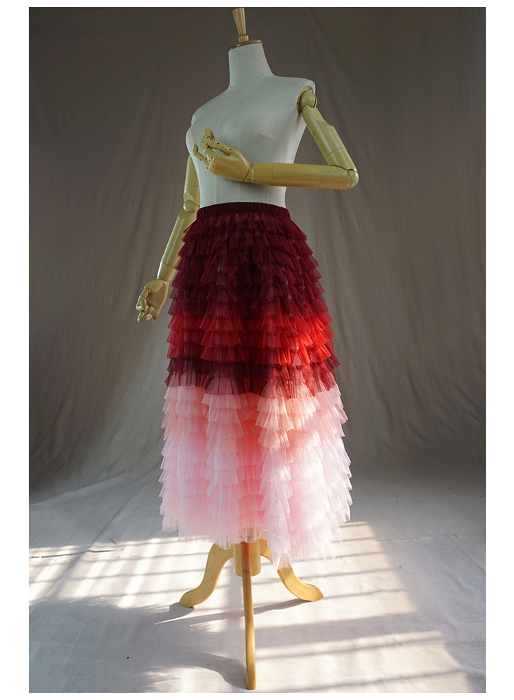 Red pink tulle skirt 2