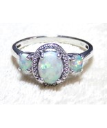 925 Sterling Silver 3 Stone Fire Opal Ring Sz 6.75 October Birthstone .9... - $69.99