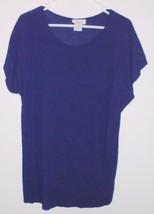 LAUREN LEE Top Plus Sz 20W Women Navy Blue Crinkle Pullover Short Sleeve... - $12.86