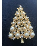 Vintage Graziano Signed Faux Pearl & White Rhinestone Goldtone Christmas... - $29.77