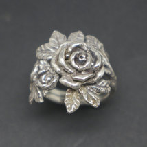 Silver Flower Rose Ring image 6