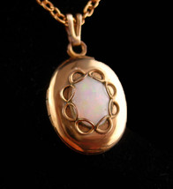 Vintage Opal Locket - petite keepsake pendant - gold plate necklace -gir... - $60.00