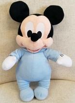 Disney Babies Nap Time Mickey Mouse Soft Doll Blue Pajamas Plush Disney ... - $9.88