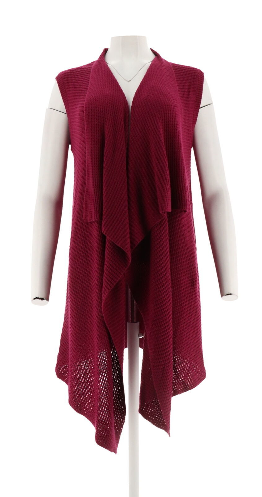 Halston Waffle Stitch Cascade Collar Sweater Vest Dark Raspberry L NEW A272363