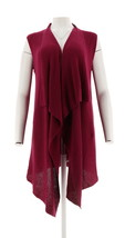 Halston Waffle Stitch Cascade Collar Sweater Vest Dark Raspberry L NEW A272363 image 1
