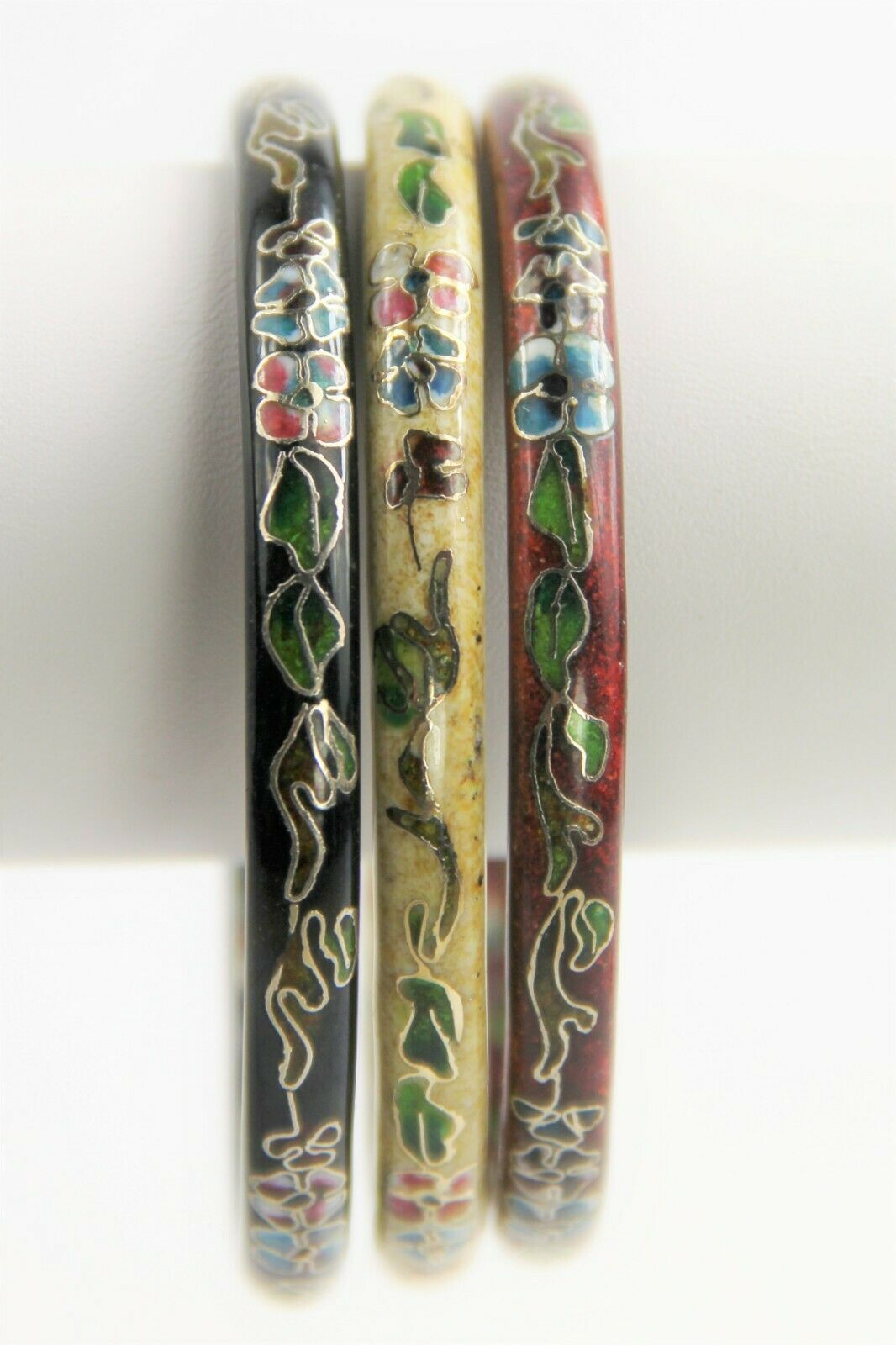 VINTAGE ESTATE Jewelry CHINESE CLOISONNE ENAMEL LOT OF 3 BANGLE BRACELETS STACK