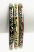 VINTAGE ESTATE Jewelry CHINESE CLOISONNE ENAMEL LOT OF 3 BANGLE BRACELETS STACK image 1