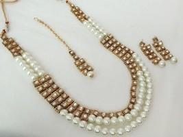 Indian Bollywood White Gold Plated Kundan Fashion Bridal Jewelry Necklace Set 3 - $23.74