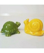 Green Turtle and Yellow Snail Salt and Pepper Shakers - $11.88