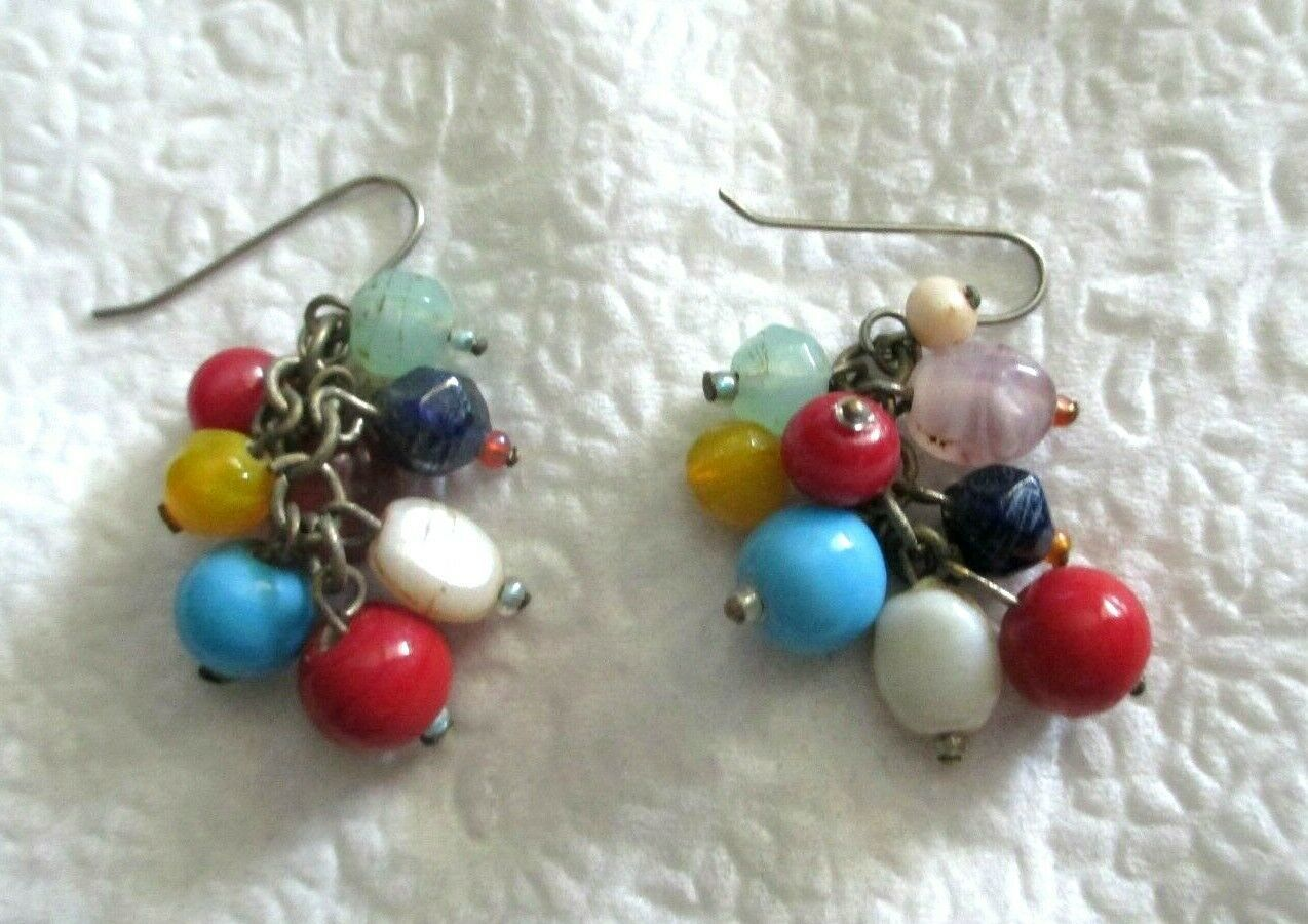 "Primary image for Vintage Cha Cha Bead 1.75"" Dangle Silver Tone Hook Earrings Pierced"