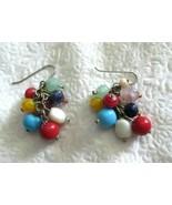 """Vintage Cha Cha Bead 1.75"""" Dangle Silver Tone Hook Earrings Pierced - $19.79"""